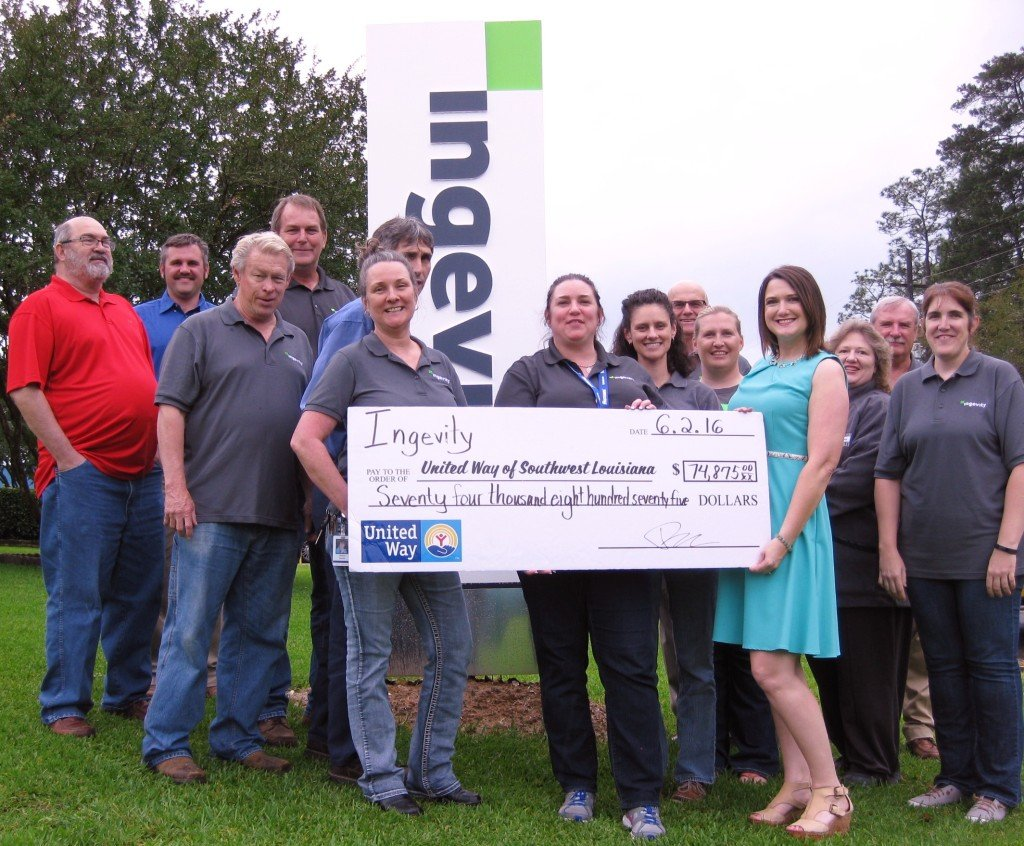 Pictured above (l to r): Ingevity employees Roger Bryson, Brandon Thomas, Robbie Robertson, Danny Kyle, Arlene Brooks, Carl Mike, Sherry Istre, Ashley Hauser, Carl Slover, DeAnna Droddy, Margaret Hines, Paul Simmons, and Kelly Lewis present the check to Felicia Burke of the United Way of Southwest Louisiana.